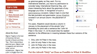 The site also offers several grammar-related videos, ranging from approximately 4 to 14 minutes.
