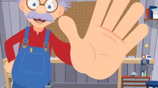 """Grandpa gives lots of encouragement -- doing a little jig, saying """"good job,"""" or asking for a high five -- for a job well done."""