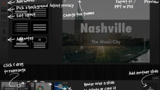Choose a theme and a layout, then add images, text, charts, audio, or YouTube videos.