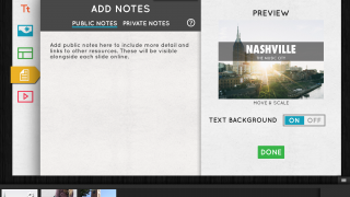 Public notes provide online viewers with additional content; private notes are available only in the iOS app.