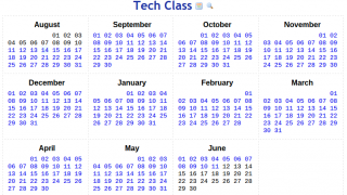 The home dashboard contains a view of the entire school year.
