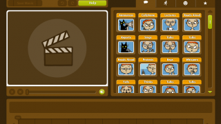 To create a movie, students choose from a menu of actions and drop them in the timeline below the movie preview box.