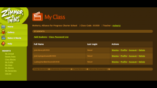 The teacher dashboard lets teachers manage student profiles and view their creations.