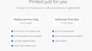 Pictures can be compiled into a photo book for purchase through the site; banner ads remind users of that option.