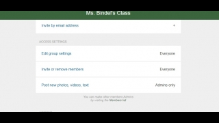 Default settings allow any group member to post; teachers may want to change that before adding members.