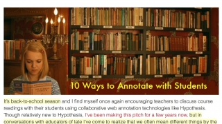 Ten ideas to get started using Hypothes.is with students.