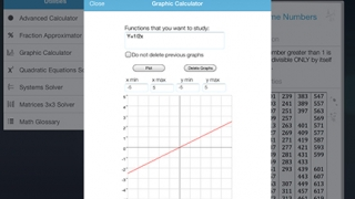 Kids can graph a variety of functions and equations using the graphic calculator.