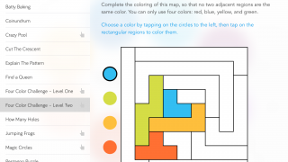 A small library of math puzzles breaks the passive learning design of the rest of the app.