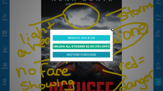 In-app purchases remove ads and add sticker options.
