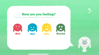 Students decide which emotion they're feeling.
