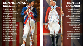 Compare American and British soldiers.