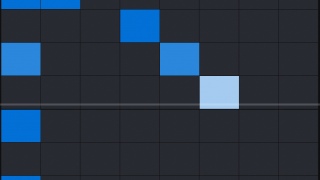 Then, place notes on the grid. Each row represents a beat; each column is a note.