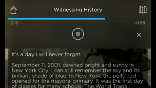 Users can display a transcript and read along with the narrator.