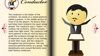 Explore each instrument and the conductor to learn more about different roles in the orchestra.