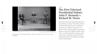 Excellent embedded multimedia link to images and videos, like the full footage of the 1960 Presidential Debate.