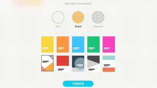 Users can customize a document with a colorful cover and lined paper.