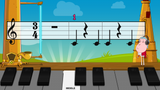 The main practice screen features scrolling sheet music and a metronome.