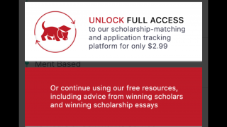 The custom scholarship search costs $2.99.