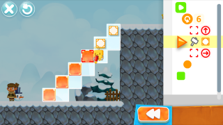 Navigate challenges by manipulating code blocks on the right side of the screen.