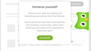 In Immersion mode, users can translate words and phrases and read other users' submissions.