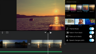 Choose themes and project filters to enhance your video.