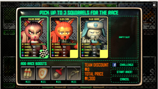 Compare squirrels' stats and choose the right racer.