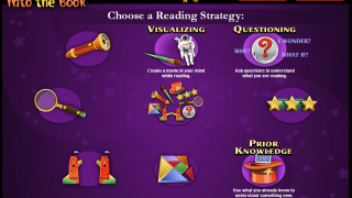 Reading strategy titles appear only after completing a first activity or rolling over an icon.
