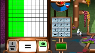 A complex story of defeating cartoon enemies underlies an exercise in comparing fractions, part of the math assessments and games.