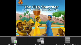 "First page of ""The Fish Snatcher,"" showing menu at bottom: Movie Mode, which advances pages automatically, is selected, and Read to Me mode is off."