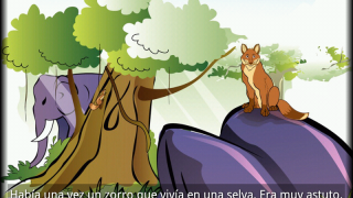 "A page from the Spanish language folktale title ""El Zorro Azul."""