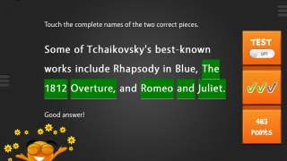 iTooch music features multiple-choice, fill-in-the-blank, and multiple-select questions on a range of musical topics.
