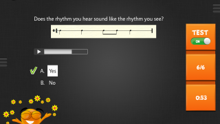 Rhythm and sight-reading questions feature audio clips and multiple-choice questions.