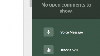 Give voice or text feedback, track student skills, or attach a lesson.