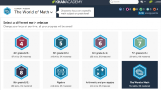 """Users can pick a """"mission"""" to work on specific grade level standards."""