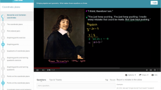 Here's a screenshot from the Descartes and Cartesian coordinates video.