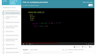 There's an explanation of how to do the FOIL method, as well as an alternative method.