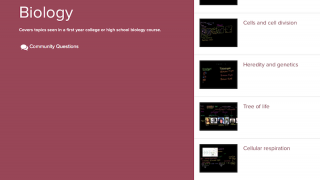 The homepage has links to eight biology units, each showing the number of included videos.