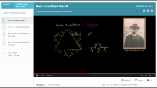 "The ""Koch snowflake fractal"" video explains a challenging geometry problem."