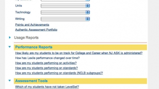 On the dashboard teachers can generate various reports and view assessment information.