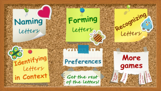 Four activity choices all focus on letter recognition.