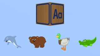 Kids help make letter blocks by matching beginning sounds to images.