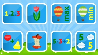 Eight activities to play, all including colorful graphics and verbal instructions.