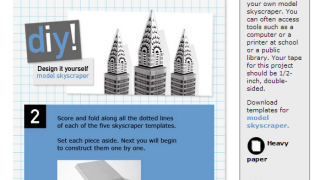 Do It Yourself projects are included with every section. In this case, a template for building a skyscraper model.