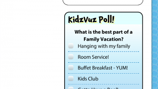 Fun polls and the opportunity to earn badges encourages kids to participate in the KidzVuz community.