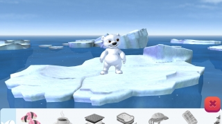 Interact with Koda, the polar bear, on an ever-shrinking iceberg.