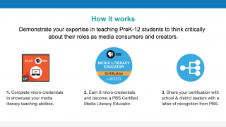 Teachers can become certified as a PBS Certified Media Literacy Educator through the program.