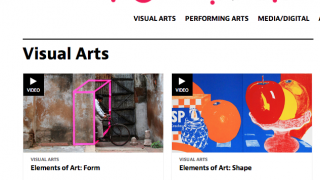 Beyond visual arts, the site also covers performance and media/digital arts.