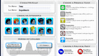 Players choose an avatar and which House of Congress to represent.