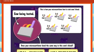 The green milk simulation lets kids design a way to diagnose sick cows using nanotechnology.