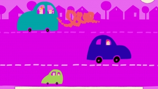 Get creative with squiggly lines and see the cars drive away.